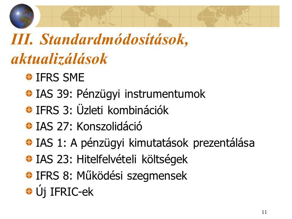 III. Standardmódosítások, aktualizálások