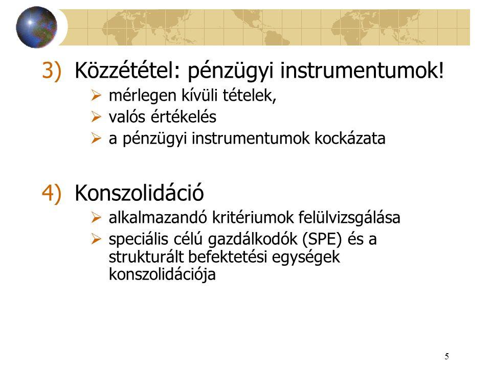 Közzététel: pénzügyi instrumentumok!