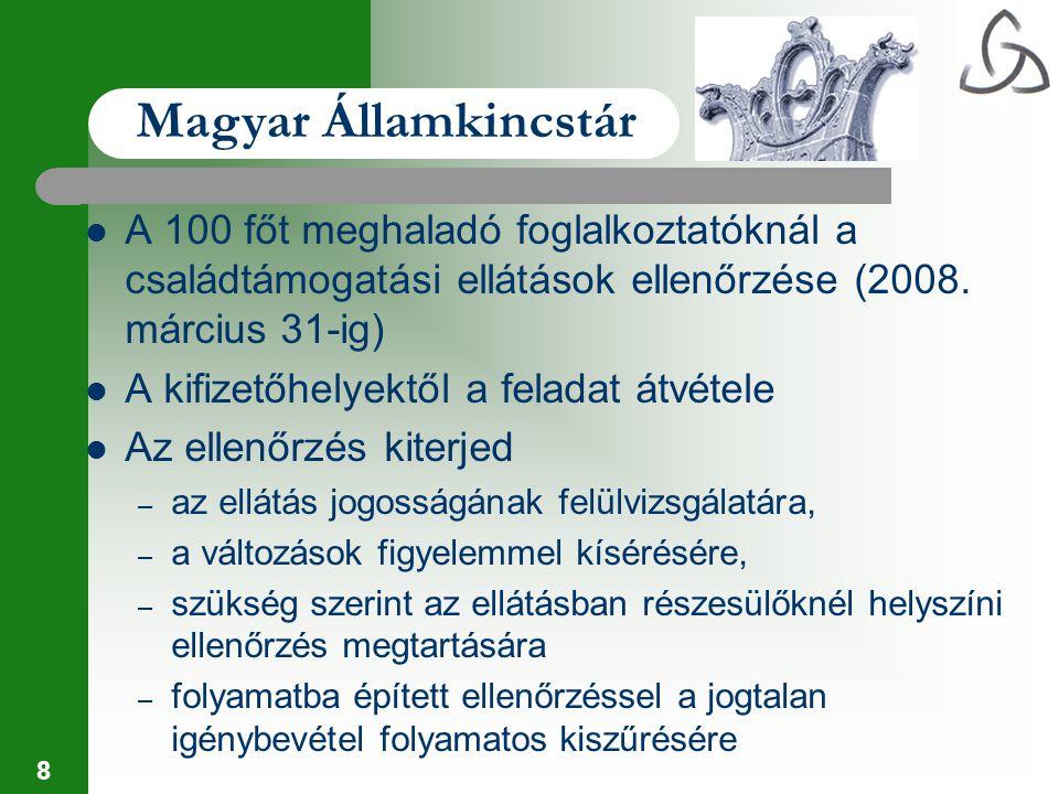 Magyar Államkincstár A 100 főt meghaladó foglalkoztatóknál a családtámogatási ellátások ellenőrzése (2008. március 31-ig)