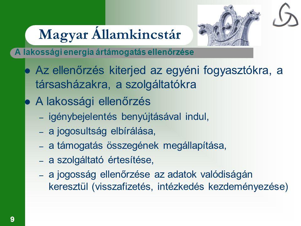 Magyar Államkincstár A lakossági energia ártámogatás ellenőrzése. Az ellenőrzés kiterjed az egyéni fogyasztókra, a társasházakra, a szolgáltatókra.