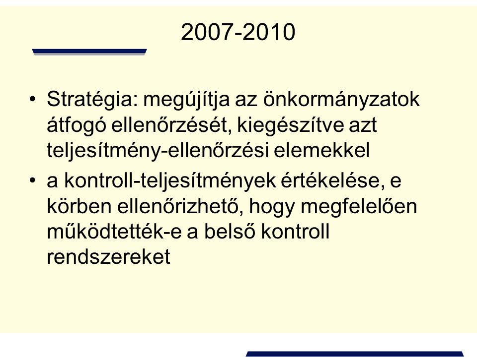 2007-2010 Stratégia: megújítja az önkormányzatok átfogó ellenőrzését, kiegészítve azt teljesítmény-ellenőrzési elemekkel.