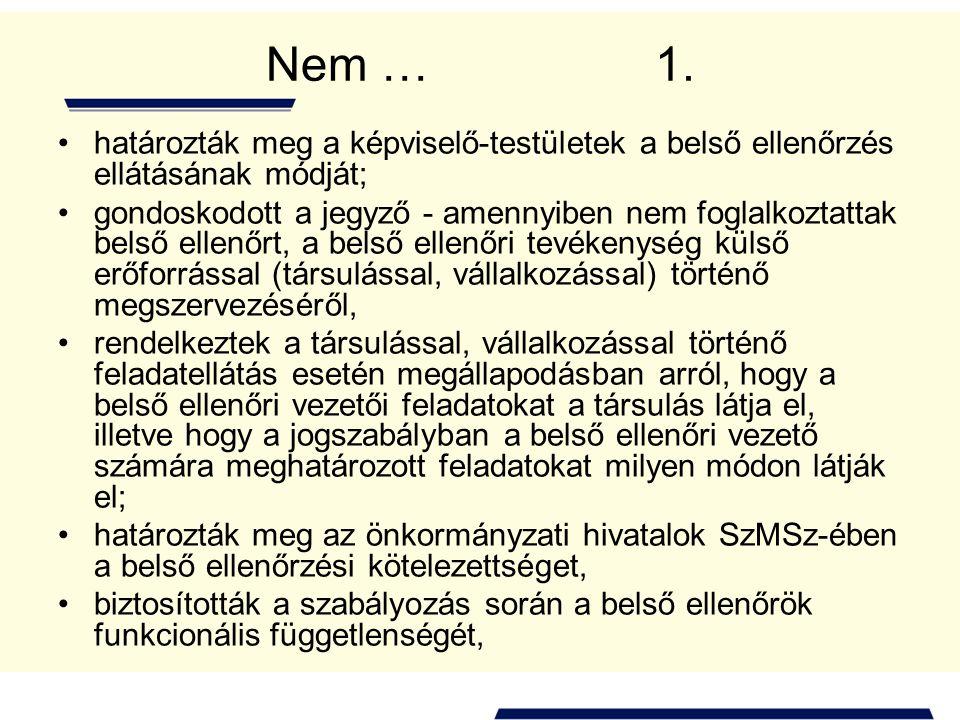 Nem … 1. határozták meg a képviselő-testületek a belső ellenőrzés ellátásának módját;