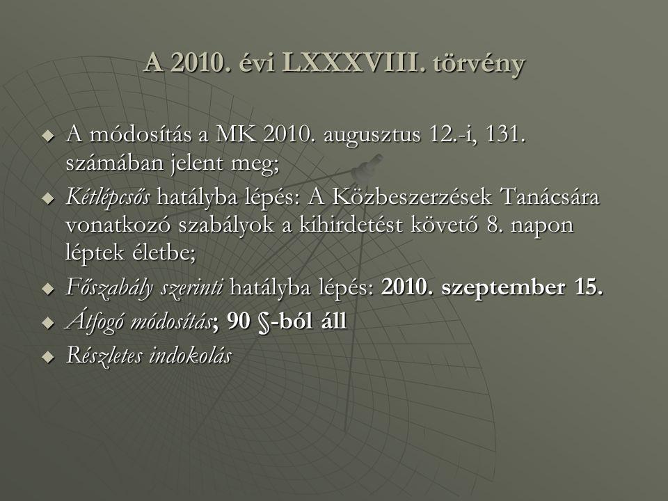 A 2010. évi LXXXVIII. törvény A módosítás a MK 2010. augusztus 12.-i, 131. számában jelent meg;