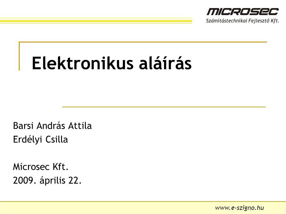 Barsi András Attila Erdélyi Csilla Microsec Kft. 2009. április 22.
