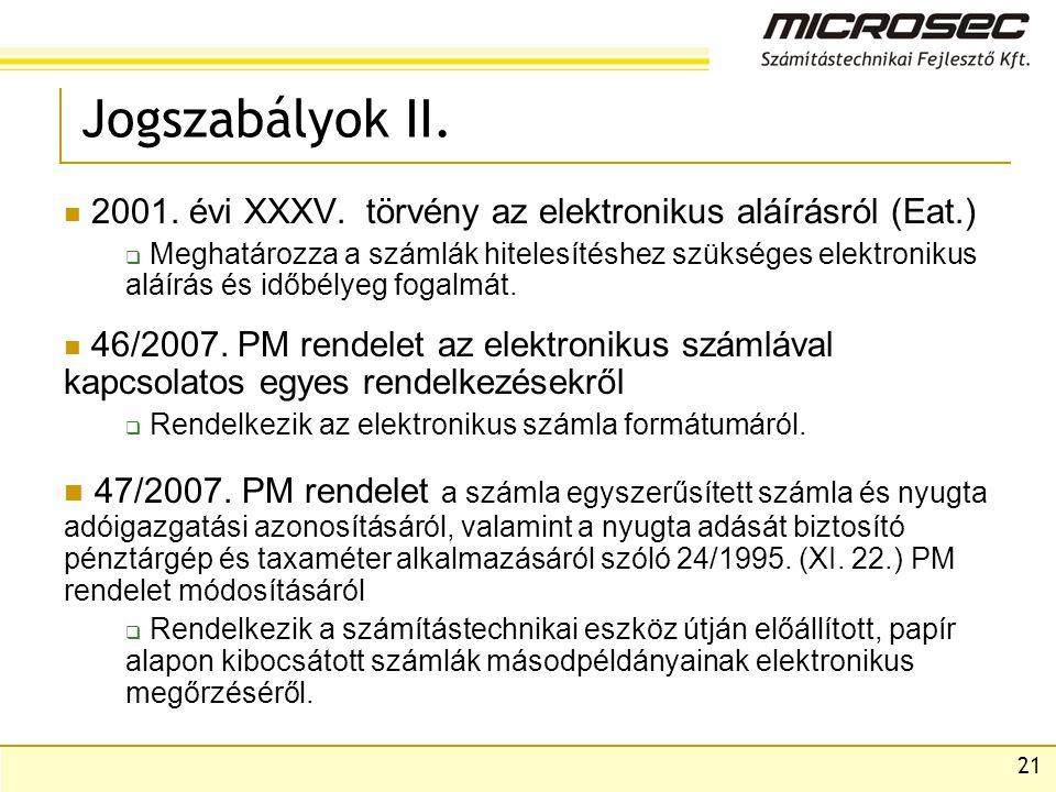 Jogszabályok II. 2001. évi XXXV. törvény az elektronikus aláírásról (Eat.)