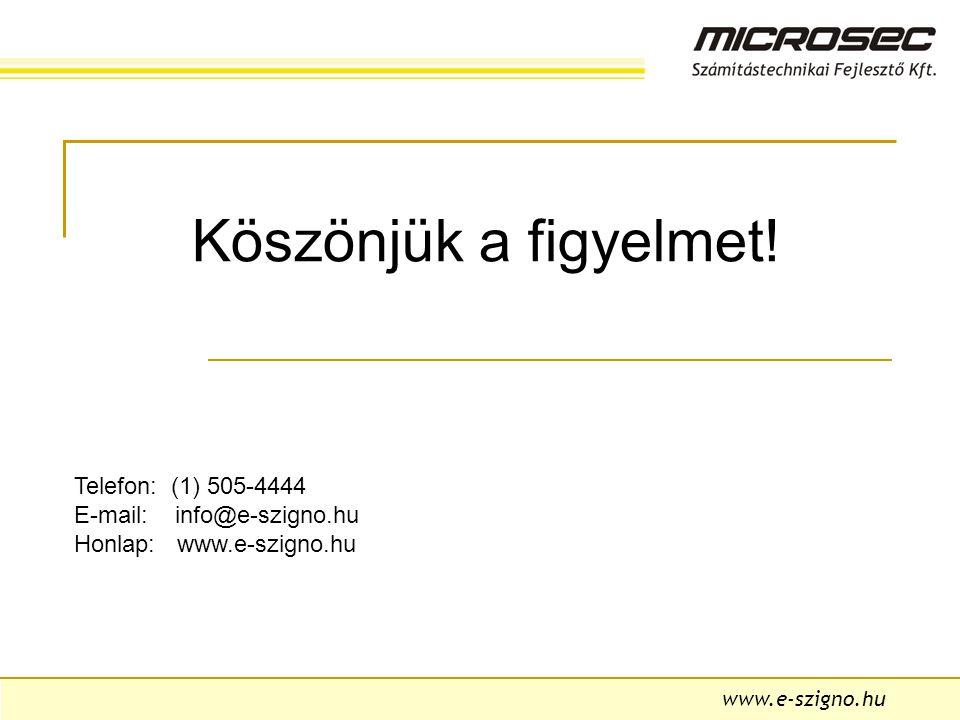 Köszönjük a figyelmet! Telefon: (1) 505-4444 E-mail: info@e-szigno.hu