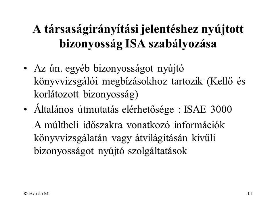 A társaságirányítási jelentéshez nyújtott bizonyosság ISA szabályozása