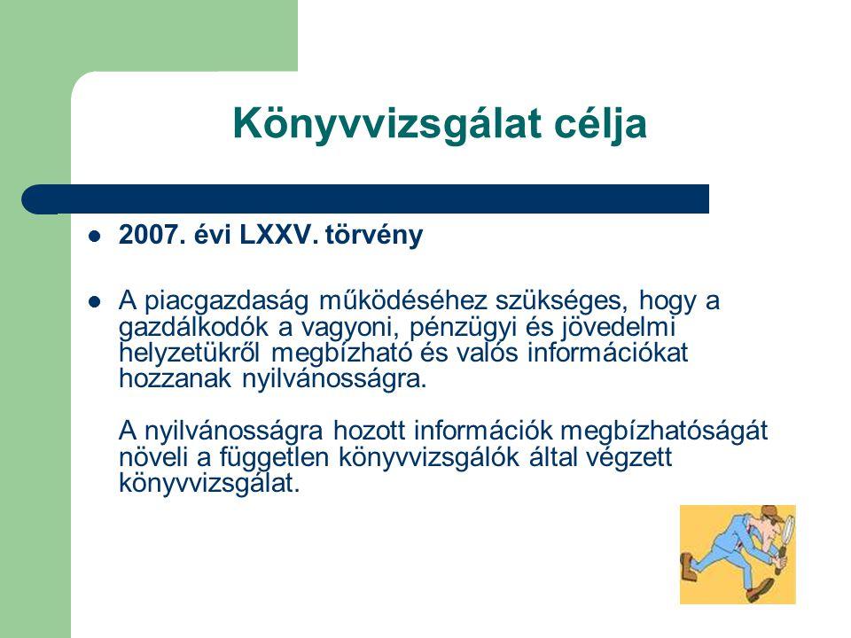 Könyvvizsgálat célja 2007. évi LXXV. törvény
