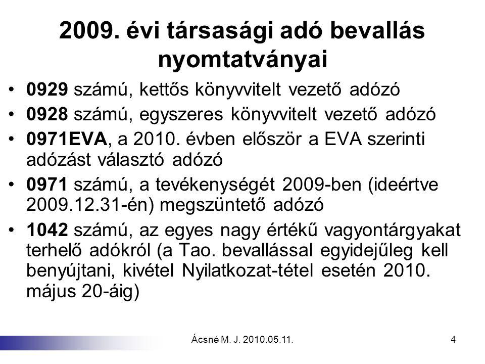 2009. évi társasági adó bevallás nyomtatványai