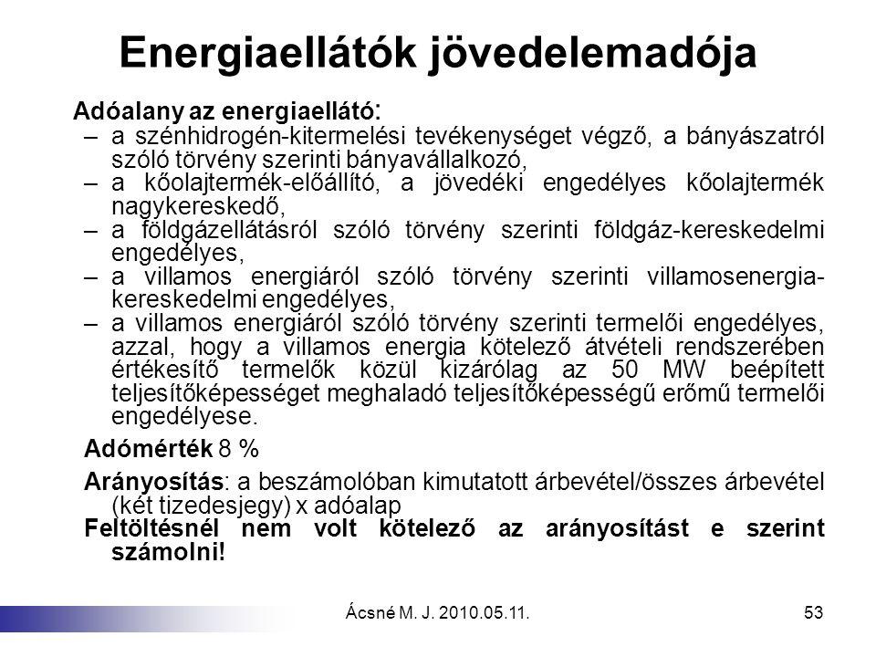 Energiaellátók jövedelemadója