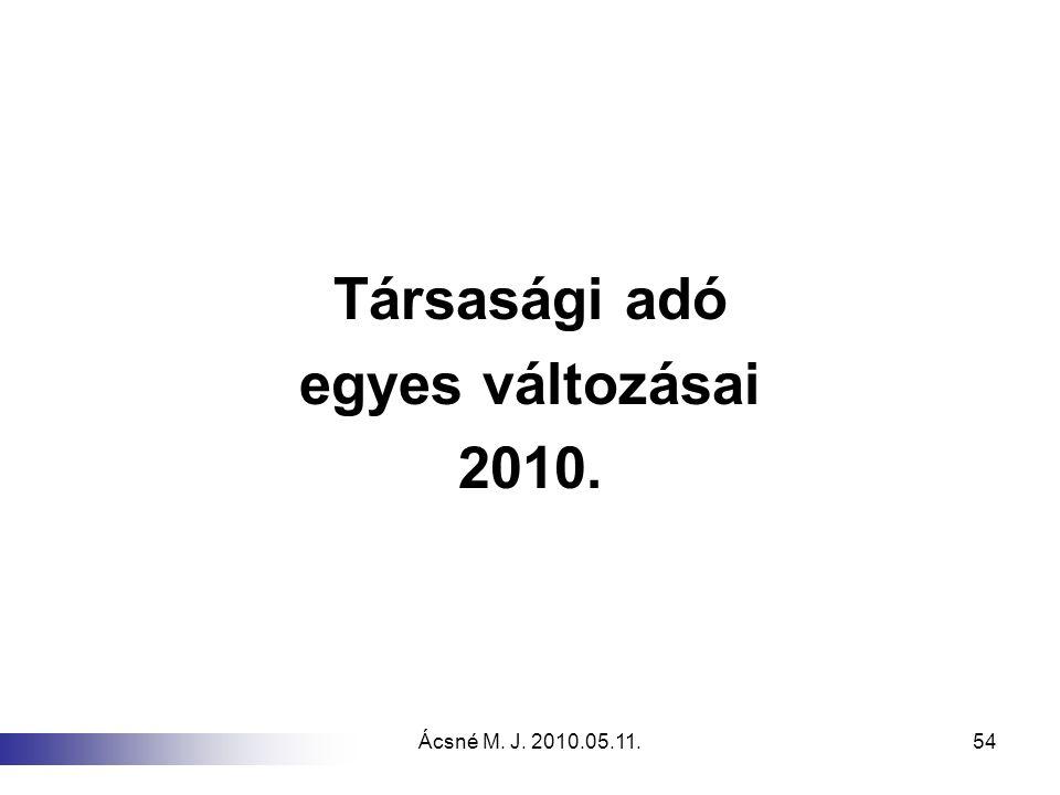 Társasági adó egyes változásai 2010.
