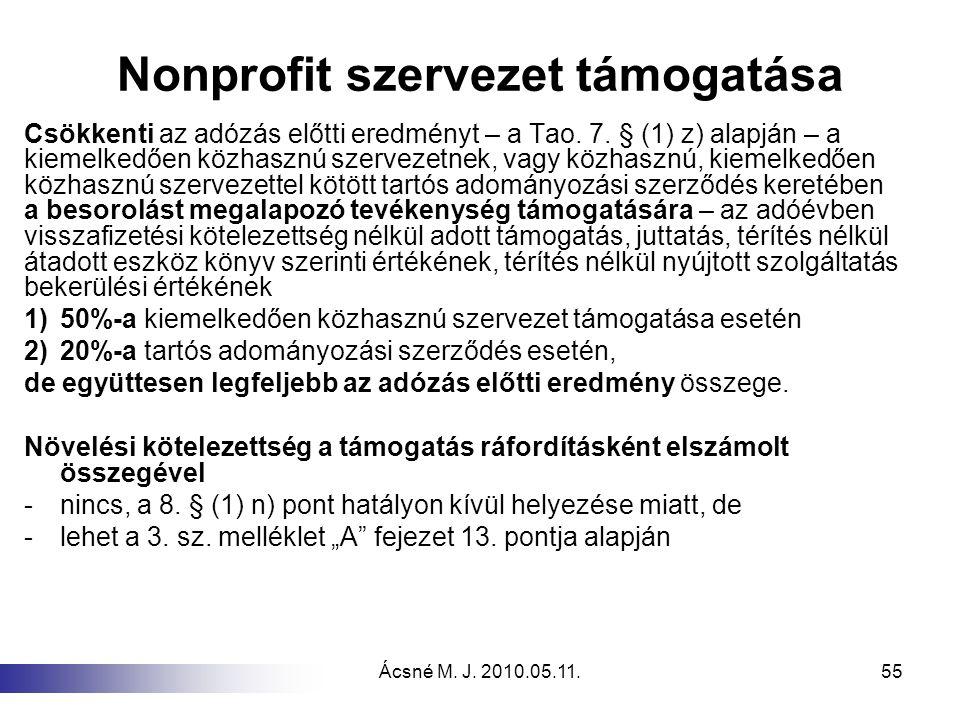 Nonprofit szervezet támogatása