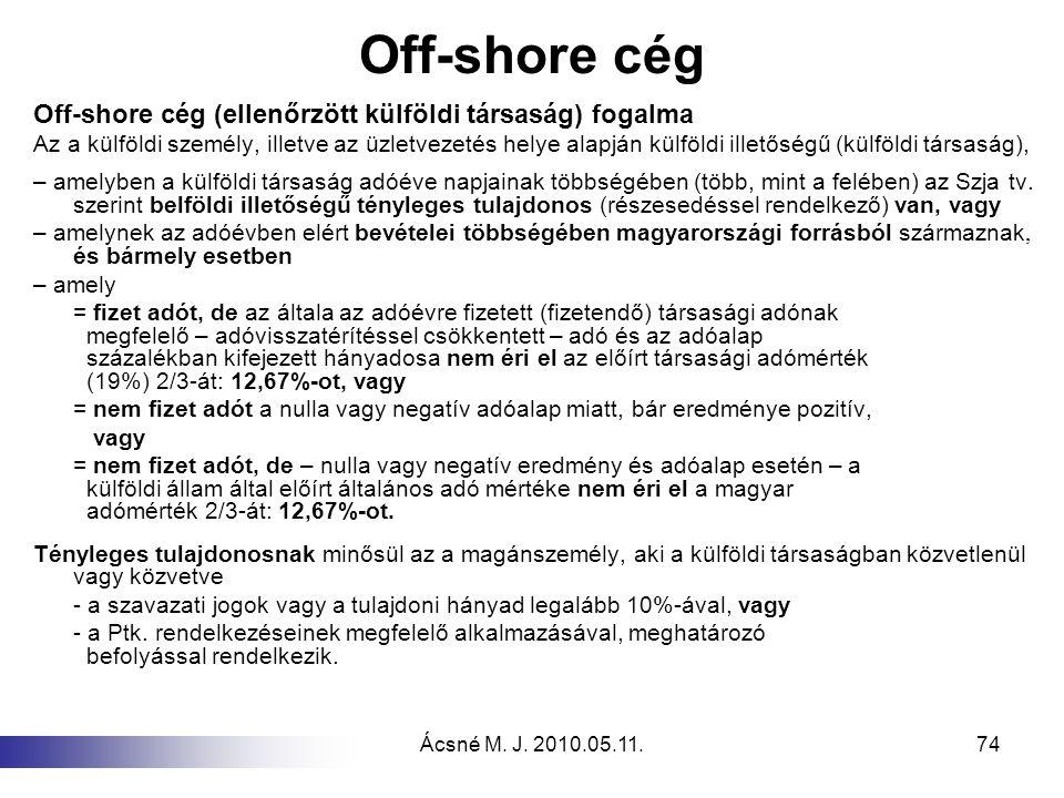 Off-shore cég Off-shore cég (ellenőrzött külföldi társaság) fogalma