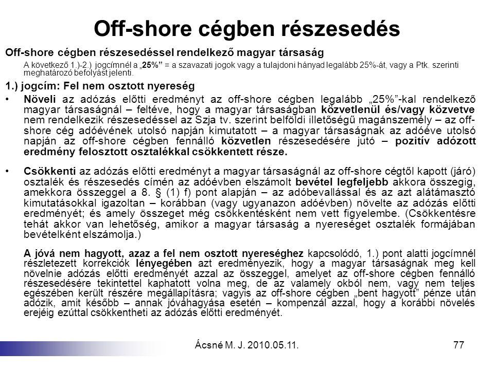 Off-shore cégben részesedés