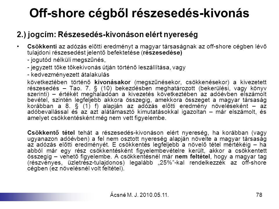 Off-shore cégből részesedés-kivonás