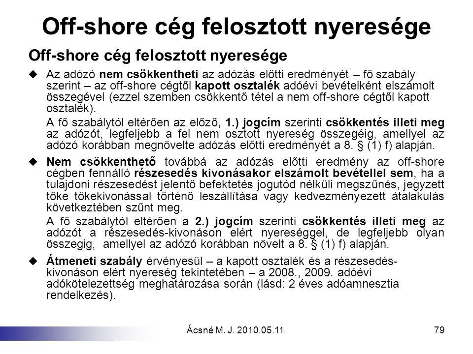 Off-shore cég felosztott nyeresége