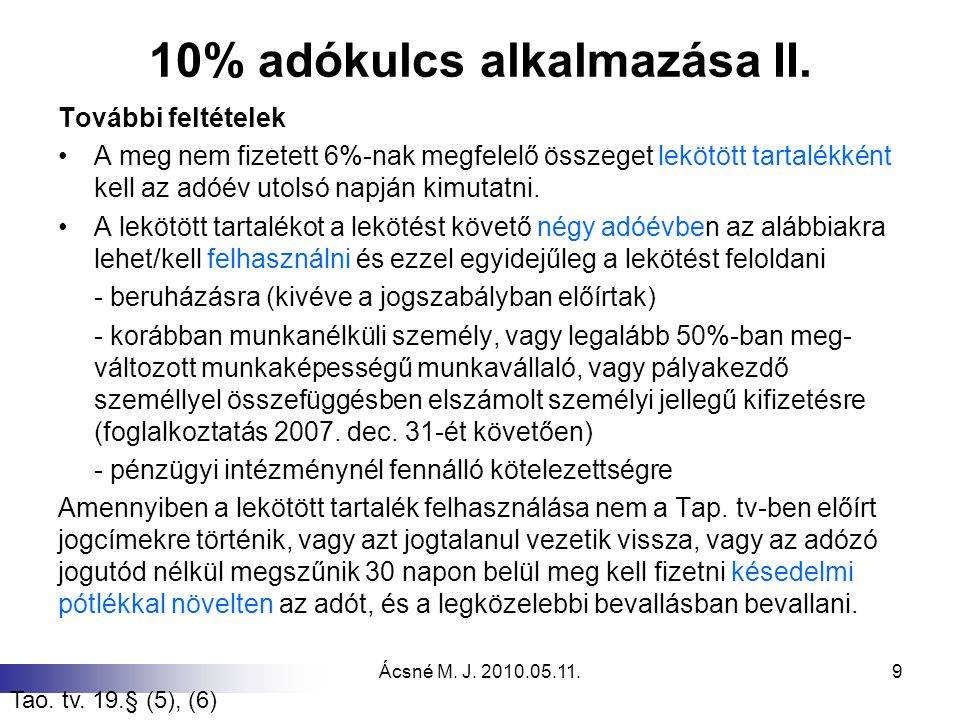 10% adókulcs alkalmazása II.
