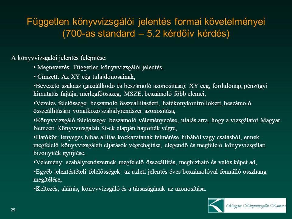 Független könyvvizsgálói jelentés formai követelményei (700-as standard – 5.2 kérdőív kérdés)
