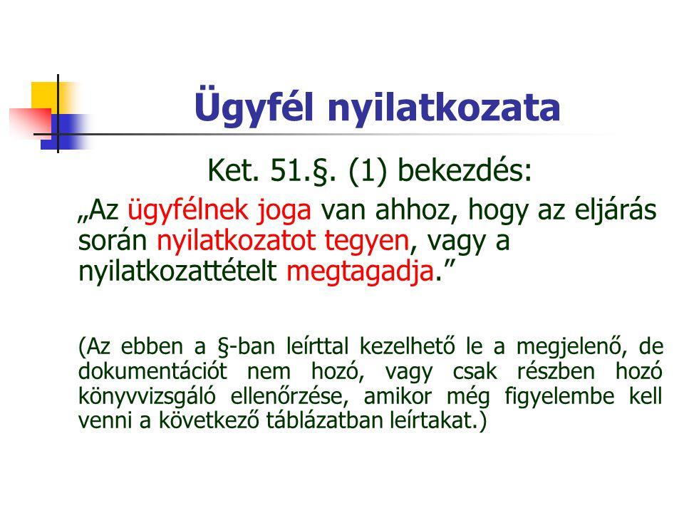 Ügyfél nyilatkozata Ket. 51.§. (1) bekezdés: