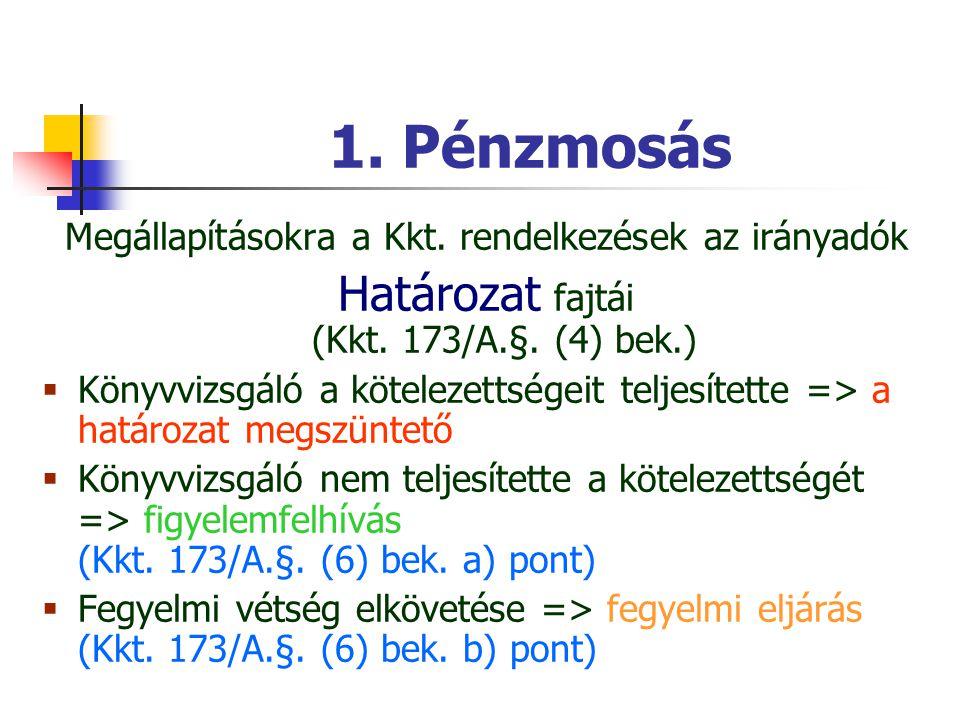 1. Pénzmosás Határozat fajtái (Kkt. 173/A.§. (4) bek.)
