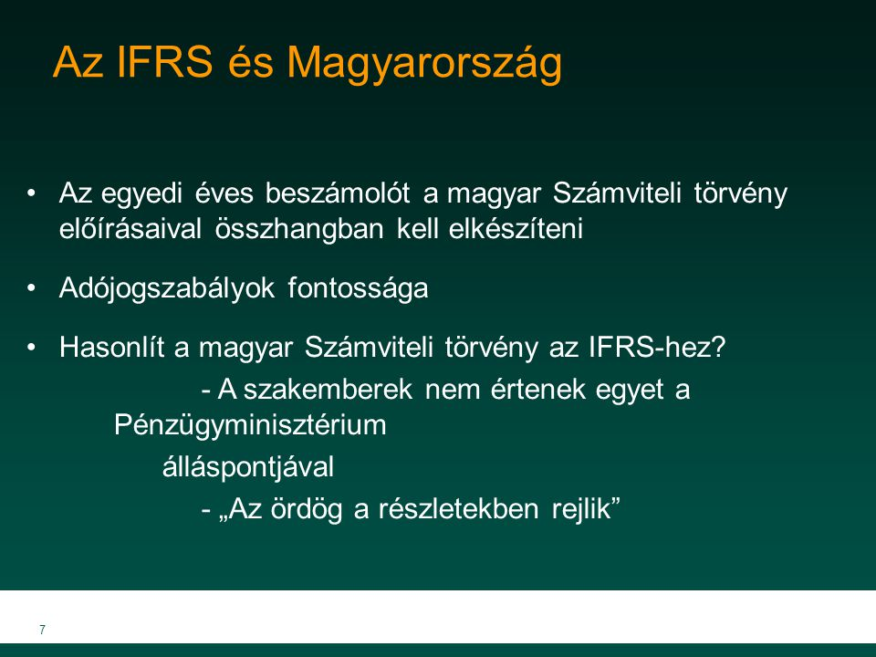 Az IFRS és Magyarország