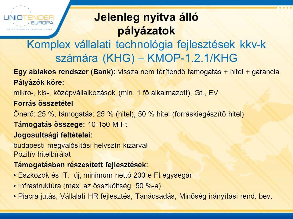 Jelenleg nyitva álló pályázatok Komplex vállalati technológia fejlesztések kkv-k számára (KHG) – KMOP-1.2.1/KHG
