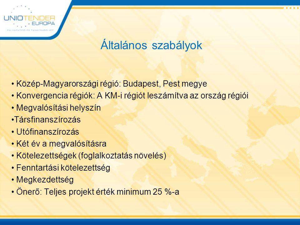 Általános szabályok Közép-Magyarországi régió: Budapest, Pest megye