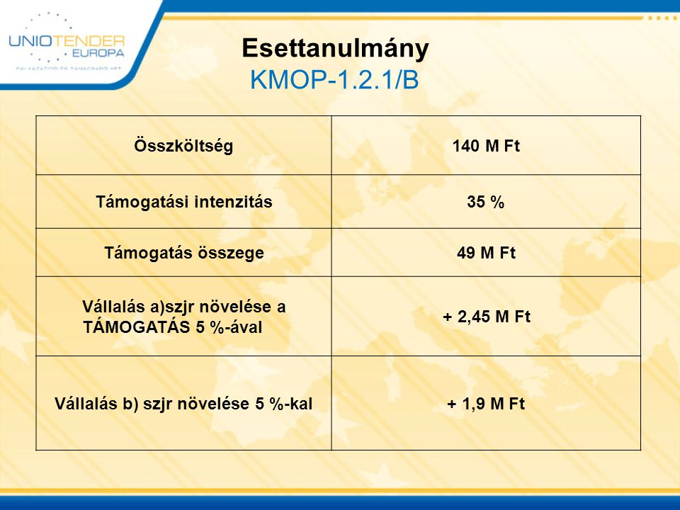 Esettanulmány KMOP-1.2.1/B