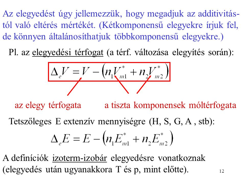 Az elegyedést úgy jellemezzük, hogy megadjuk az additivitás-tól való eltérés mértékét. (Kétkomponensű elegyekre írjuk fel, de könnyen általánosíthatjuk többkomponensű elegyekre.)