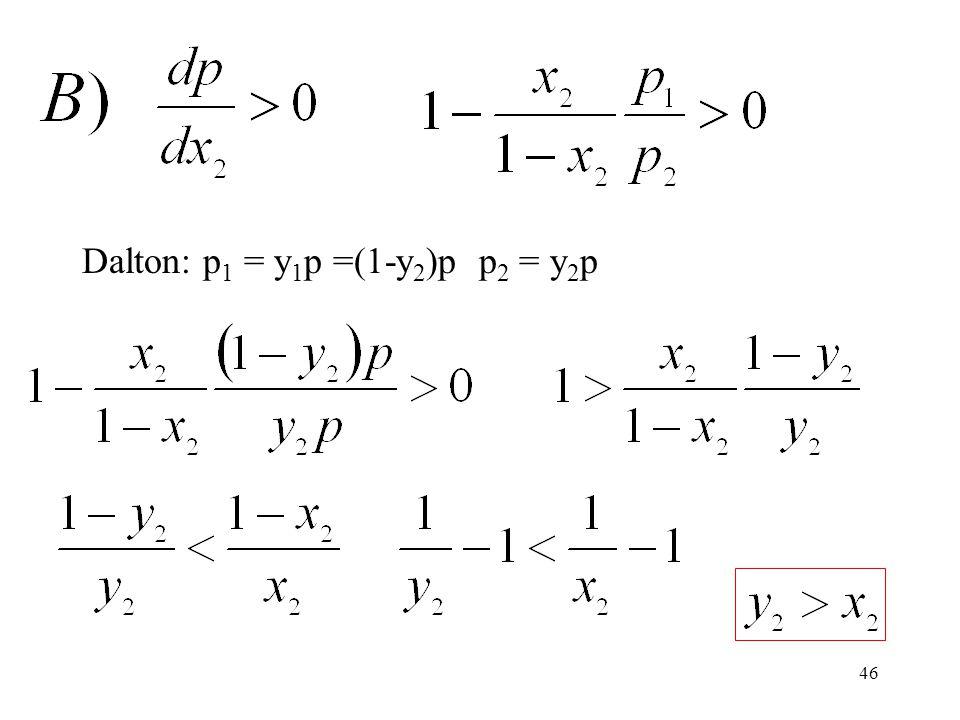 Dalton: p1 = y1p =(1-y2)p p2 = y2p