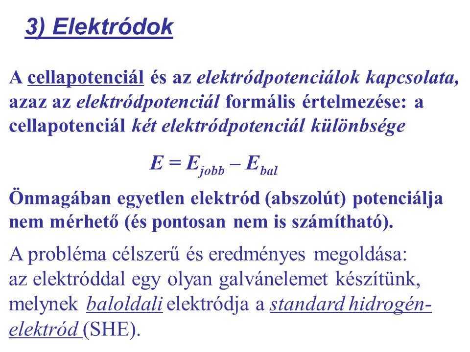 3) Elektródok E = Ejobb – Ebal