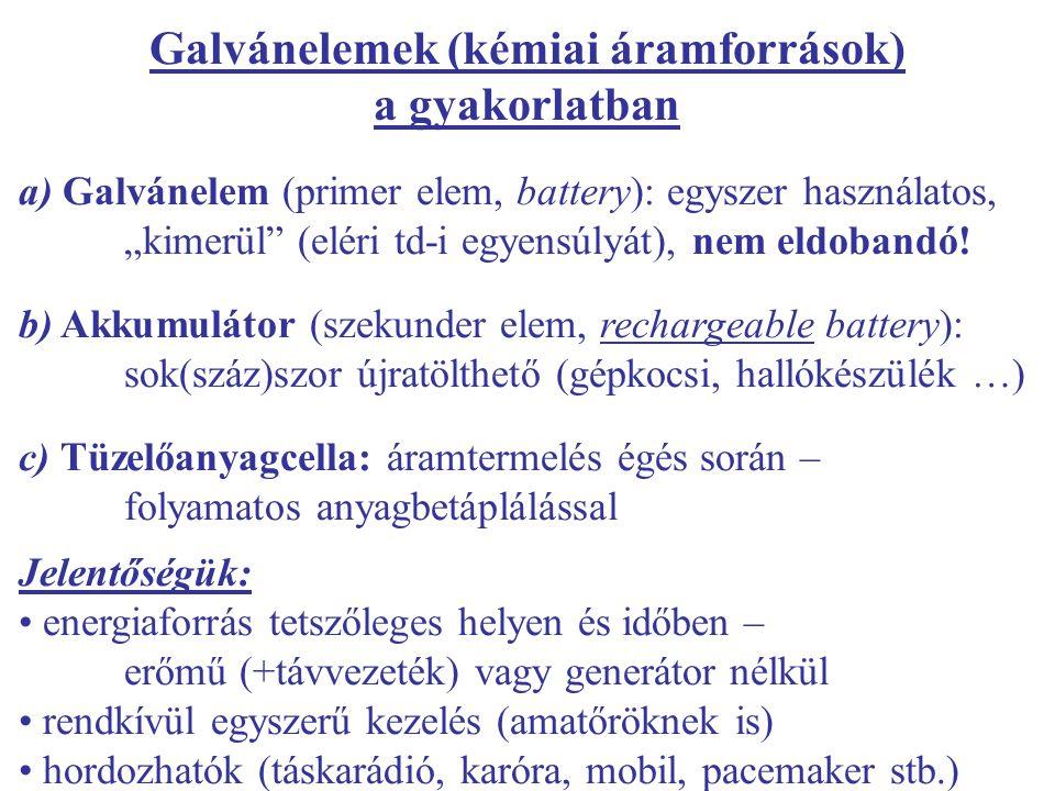 Galvánelemek (kémiai áramforrások) a gyakorlatban