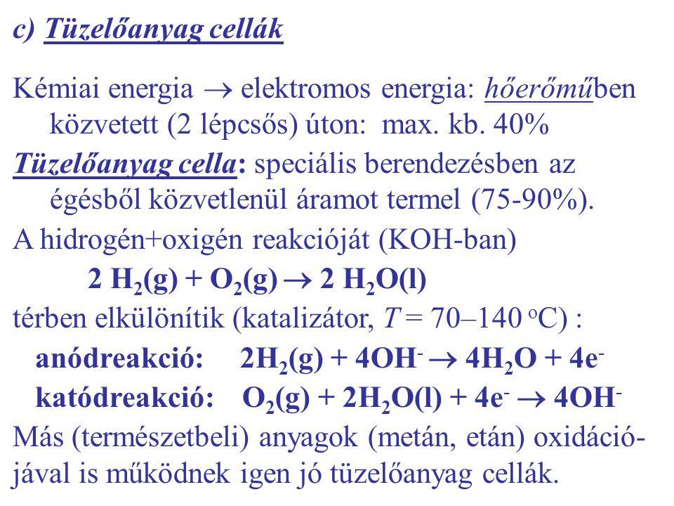 c) Tüzelőanyag cellák Kémiai energia  elektromos energia: hőerőműben közvetett (2 lépcsős) úton: max. kb. 40%