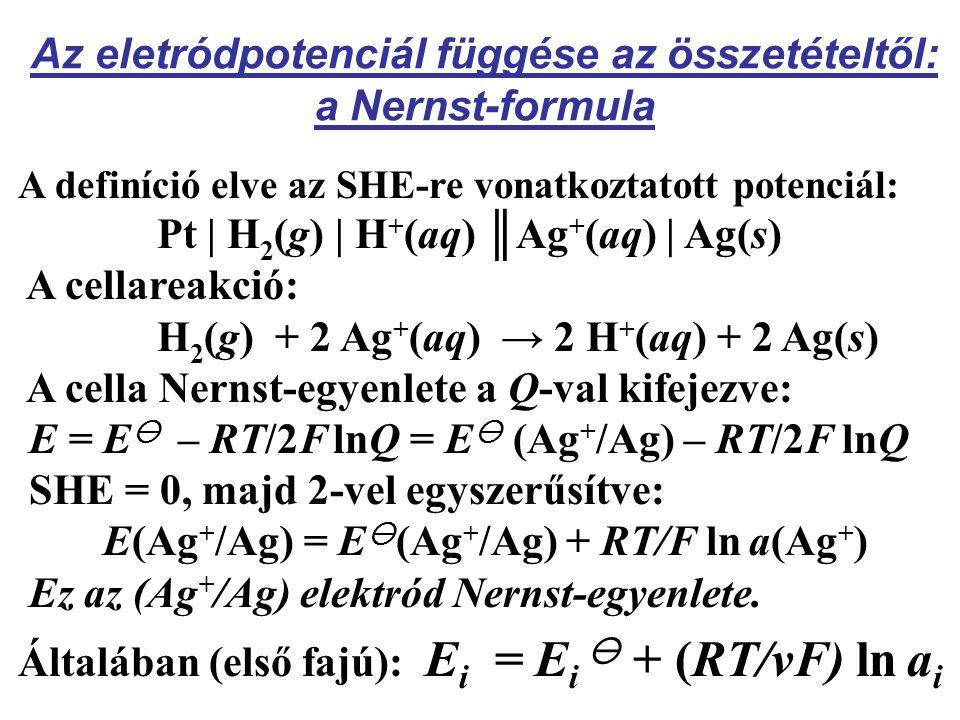 Az eletródpotenciál függése az összetételtől: a Nernst-formula