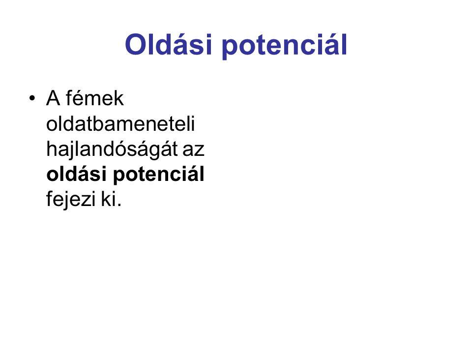 Oldási potenciál A fémek oldatbameneteli hajlandóságát az oldási potenciál fejezi ki.