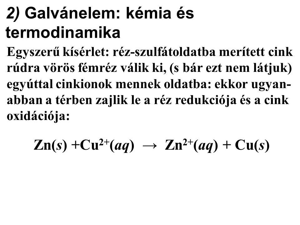 2) Galvánelem: kémia és termodinamika