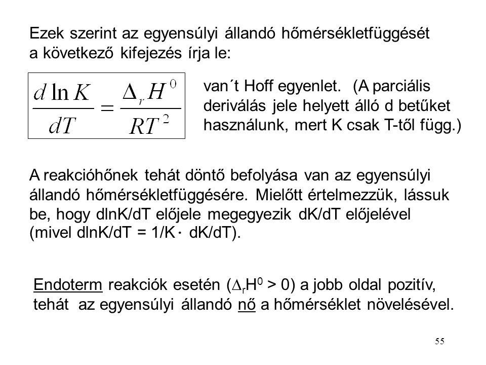 Ezek szerint az egyensúlyi állandó hőmérsékletfüggését a következő kifejezés írja le: