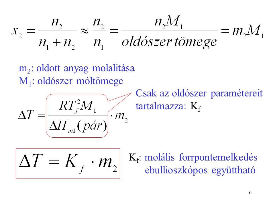 m2: oldott anyag molalitása M1: oldószer móltömege