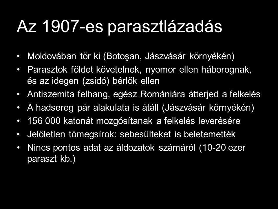 Az 1907-es parasztlázadás Moldovában tör ki (Botoşan, Jászvásár környékén)