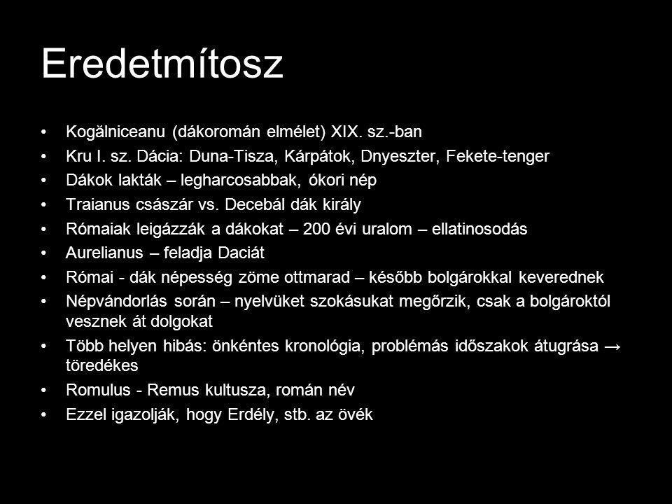 Eredetmítosz Kogălniceanu (dákoromán elmélet) XIX. sz.-ban
