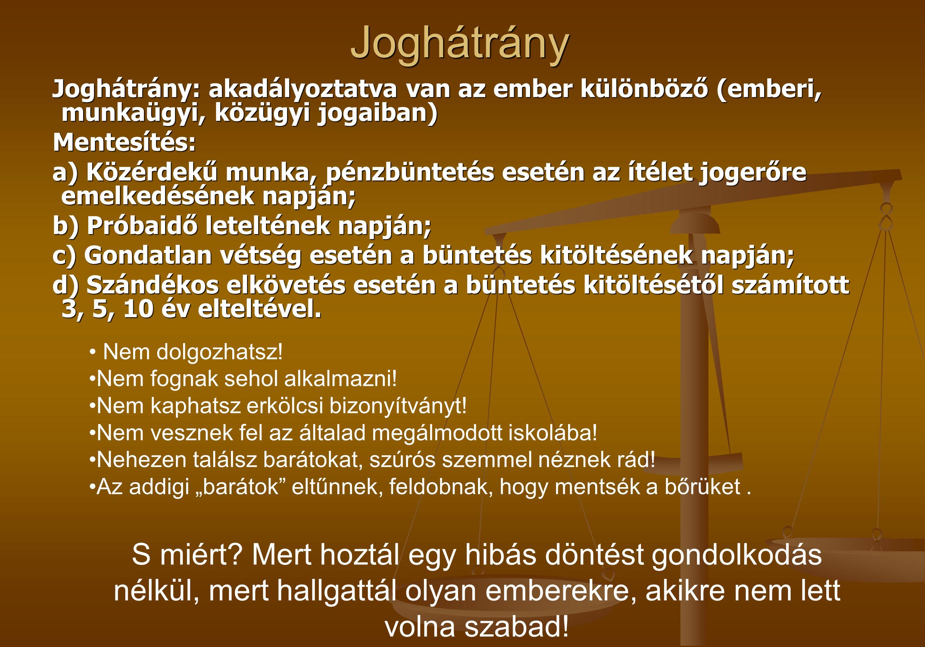 Joghátrány Joghátrány: akadályoztatva van az ember különböző (emberi, munkaügyi, közügyi jogaiban) Mentesítés: