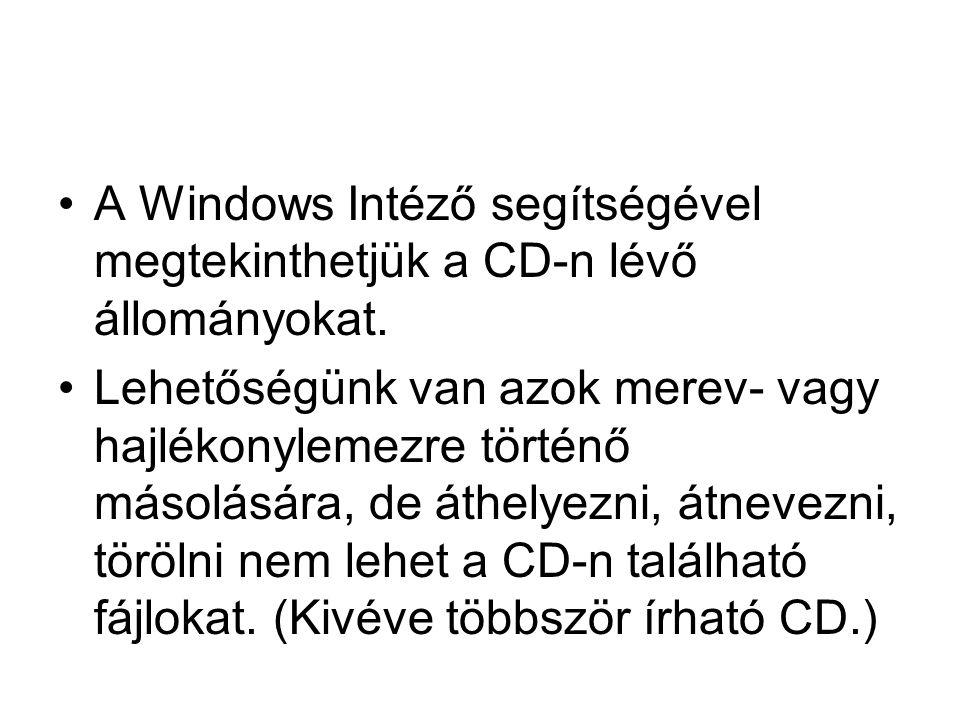 A Windows Intéző segítségével megtekinthetjük a CD-n lévő állományokat.