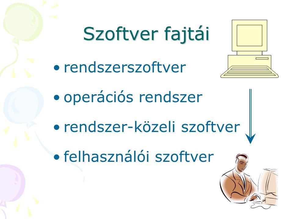 Szoftver fajtái rendszerszoftver operációs rendszer