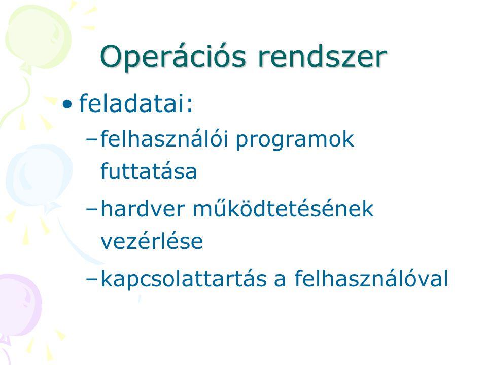 Operációs rendszer feladatai: felhasználói programok futtatása