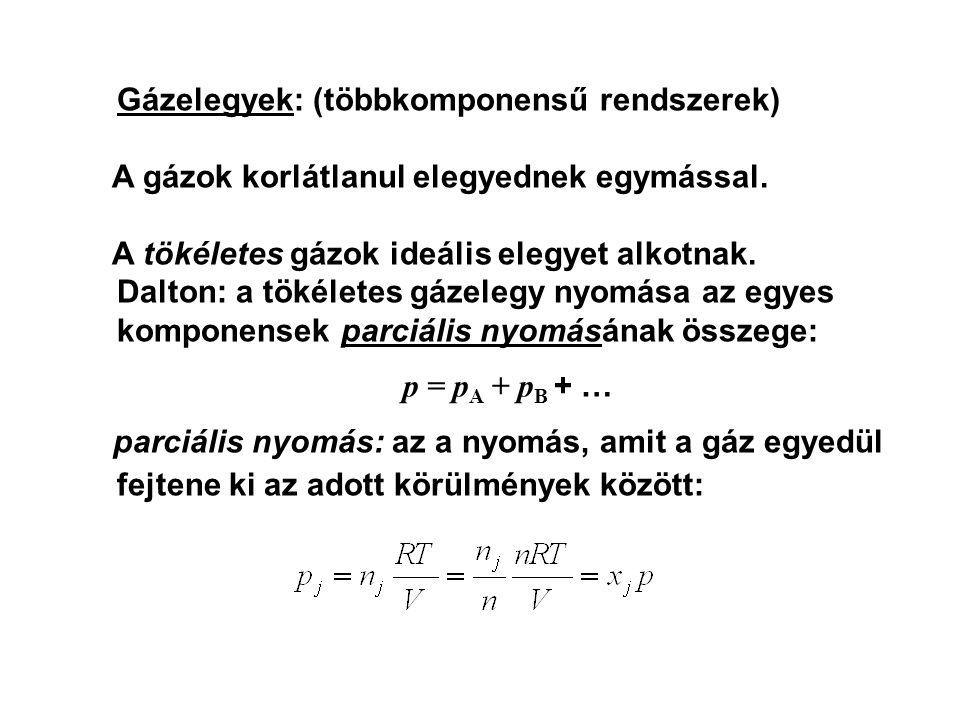 Gázelegyek: (többkomponensű rendszerek)