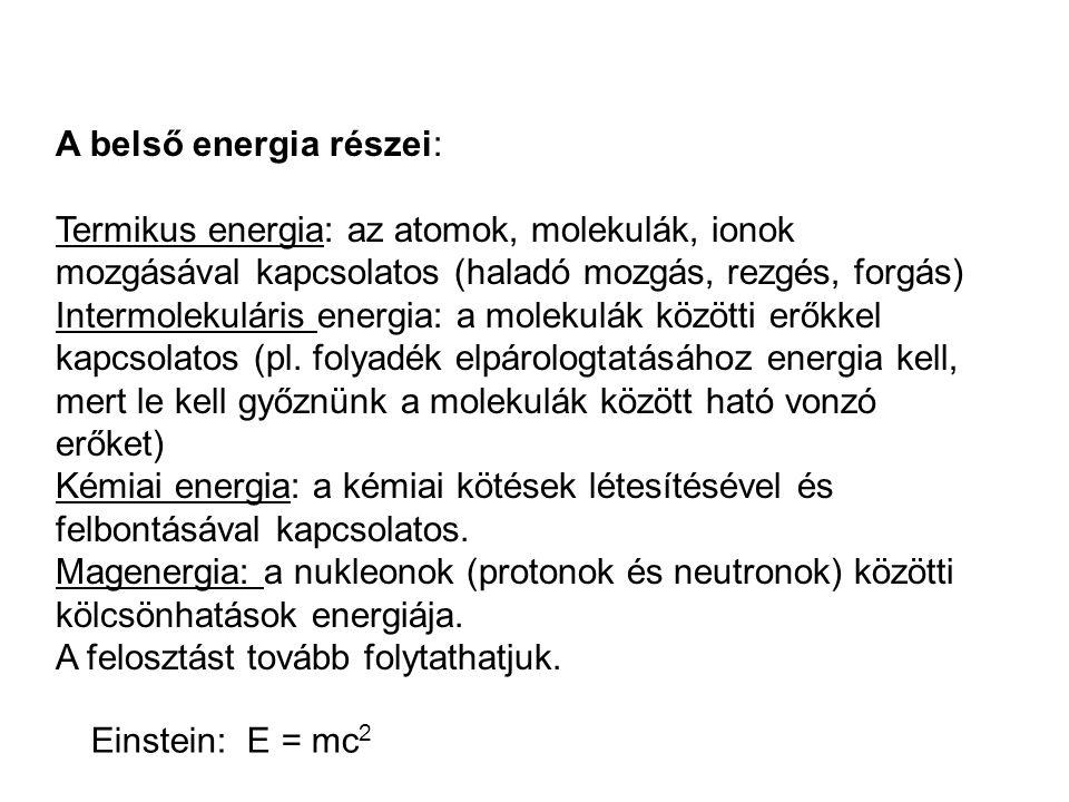 A belső energia részei: