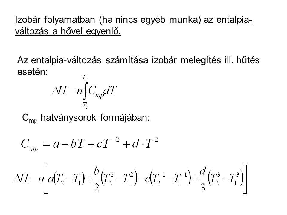 Izobár folyamatban (ha nincs egyéb munka) az entalpia-változás a hővel egyenlő.