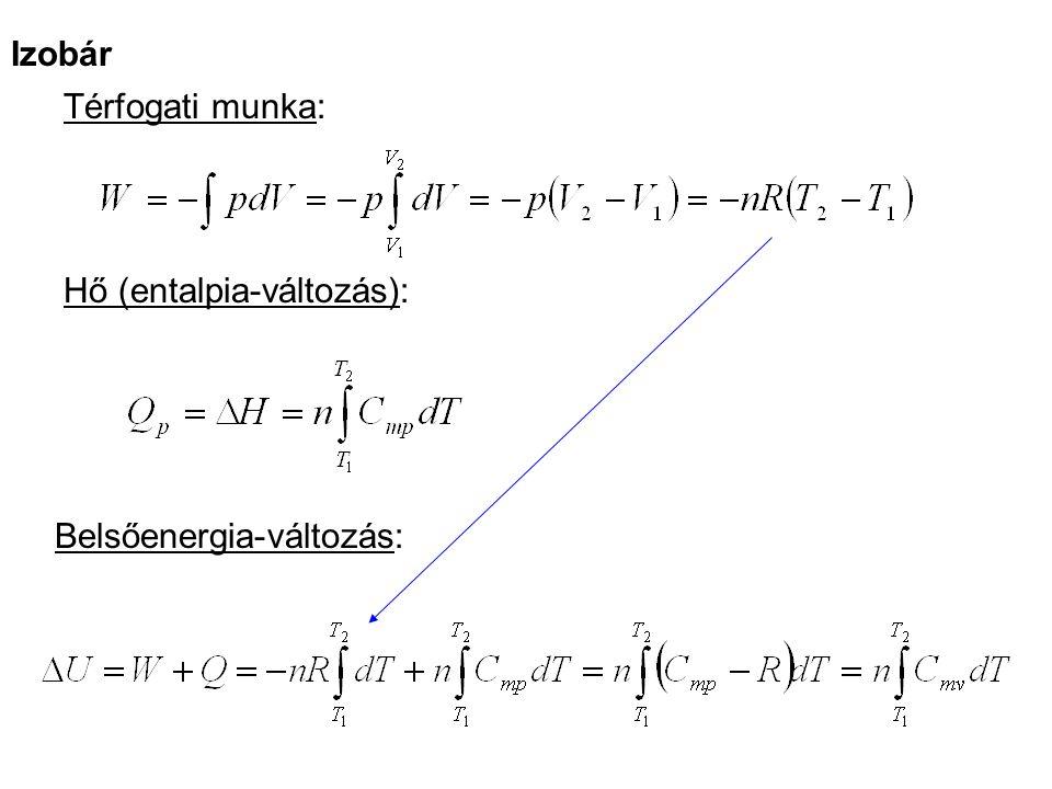 Izobár Térfogati munka: Hő (entalpia-változás): Belsőenergia-változás:
