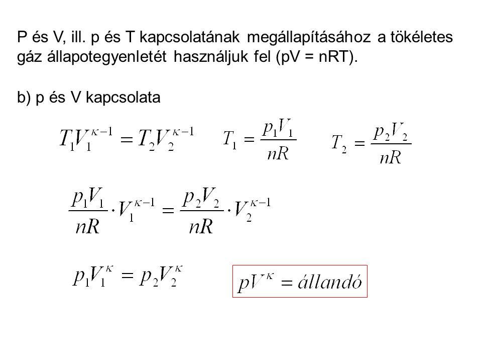P és V, ill. p és T kapcsolatának megállapításához a tökéletes gáz állapotegyenletét használjuk fel (pV = nRT).