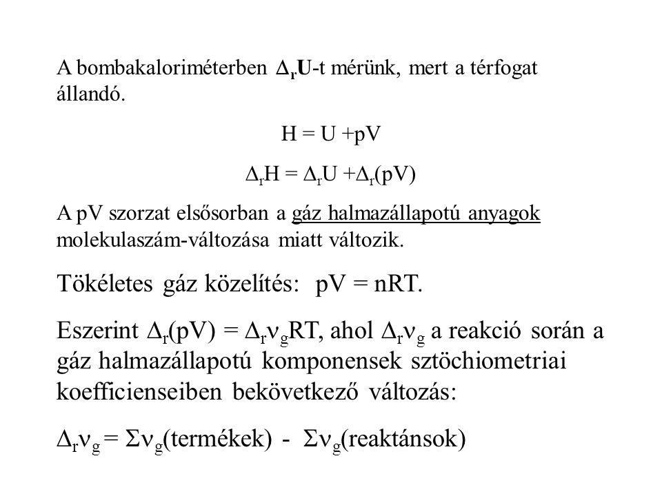 Tökéletes gáz közelítés: pV = nRT.